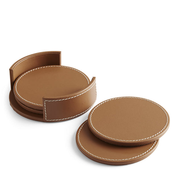 Wyatt set of 4 Coasters Leather Holders