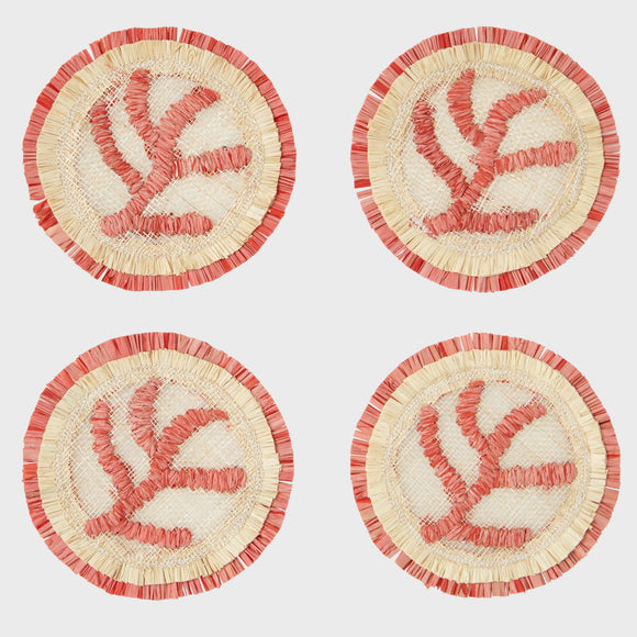 Coral straw coasters, set of four