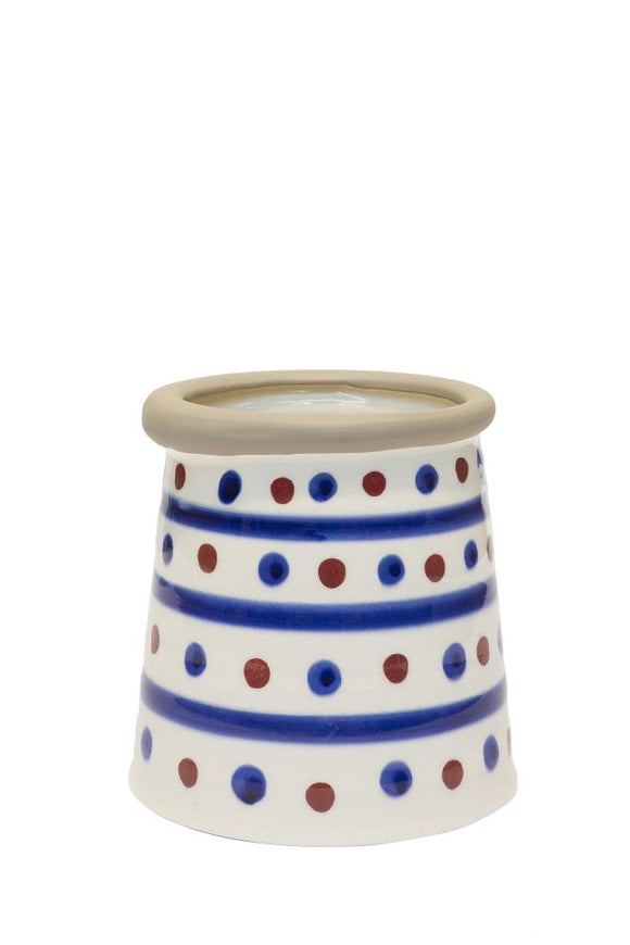 Cordoba - Vase Blue and Red Pois In White Ceramic