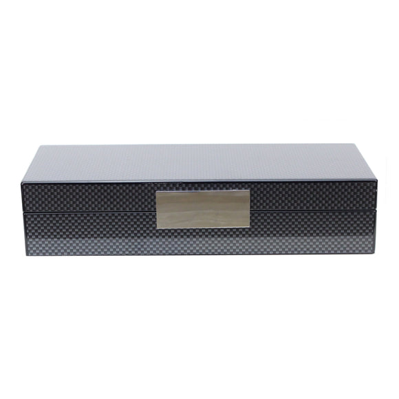 Carbon Fibre Lacquer Box with Silver - Addison Ross