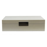 Large Cream Croc Lacquer Box with Silver