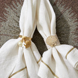 Coral and shell skinny napkin rings, cream, set of four