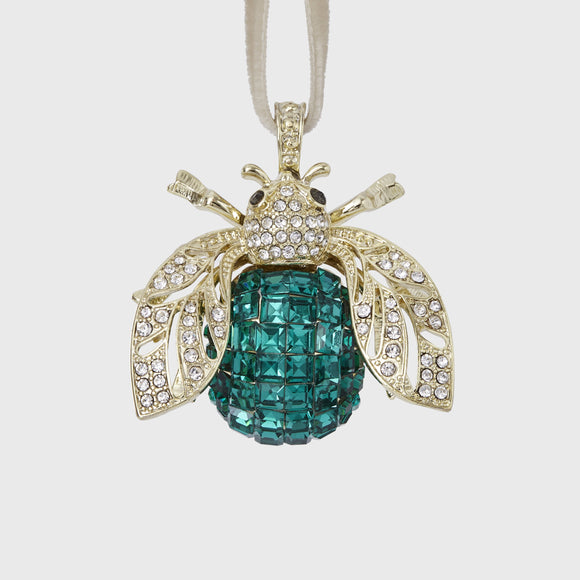 Sparkle Bee Hanging Ornament _ Emerald