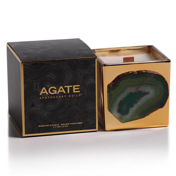 Agate goldern jar candle - SIberian Fir