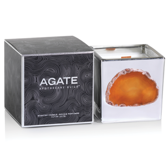 Agate silver candle Jar - Morroccan Tangerine leaf