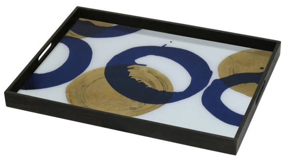 Gold & Blue Halos Tray - Large