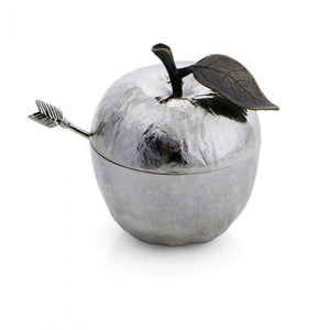 Apple Honey Pot with spoon michael aram  - Silver