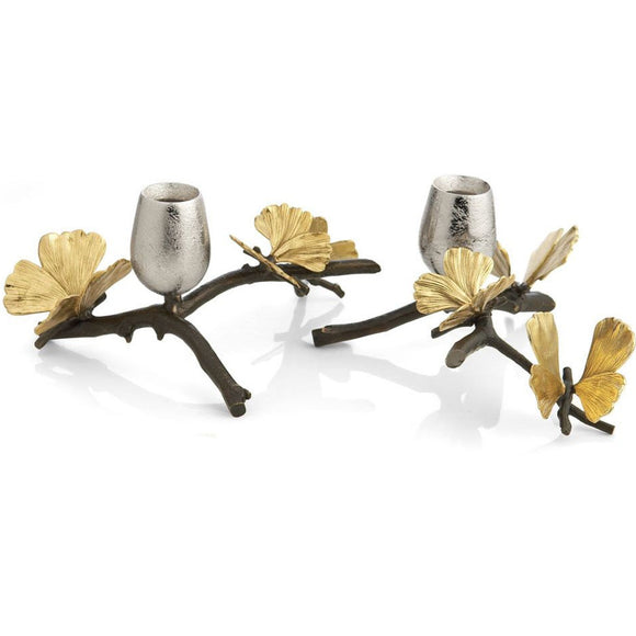 Butterfly Ginkgo Candleholders set of 2 - Michael Aram