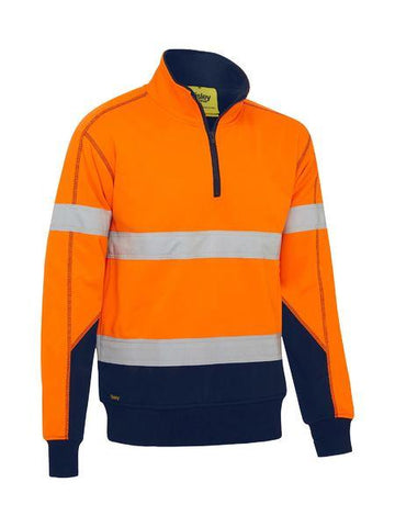 High Vis Clothing - Bisley Hi Vis Pullover Taped Fleece With Sherpa Lining
