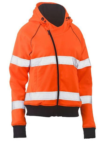 High Vis Clothing - Bisley Womens Hi Vis Hoodie Taped Fleece