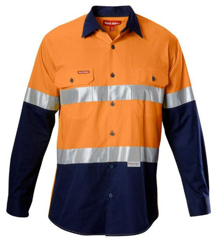 High Vis Clothing - Hard Yakka Koolgear Hi Vis Shirt Long Sleeve 145gms Cotton Ventilated Shirt Reflective Tape