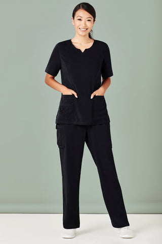 Workwear - Biz Care Ladies Scrub Top Stretch Round Neck