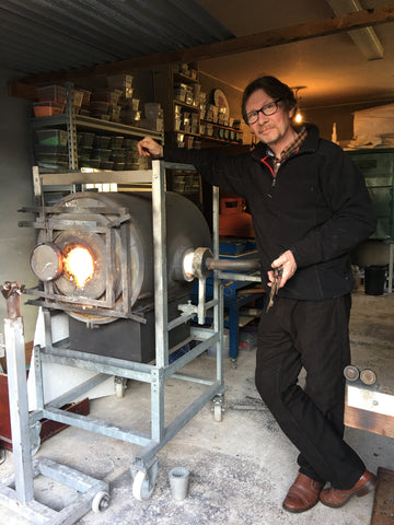 Brian Kerr from Garage Glass with his minimelt furnace 'Rory'
