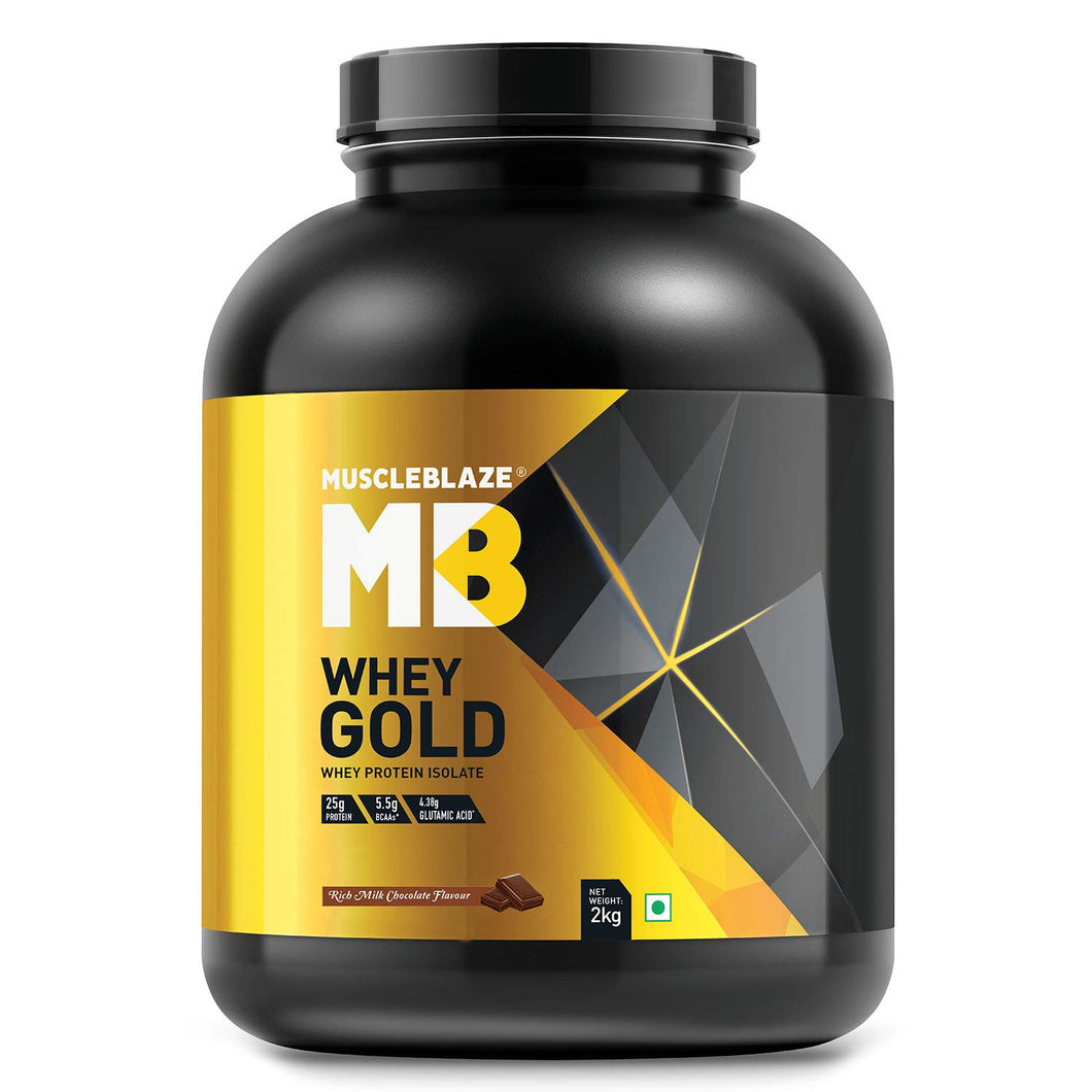MuscleBlaze Whey Gold 100% Whey Protein Isolate – 2 kg (4.4 lb)