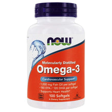 Load image into Gallery viewer, NOW Foods Omega-3 Molecularly Distilled Fish Oil -100 Softgels