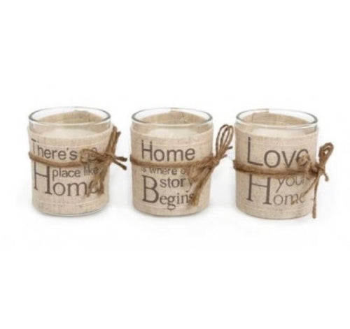Linen Word Print Candle Pot