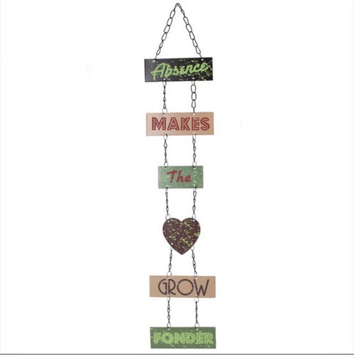 Absence Makes The Heart Metal Hanging Sign