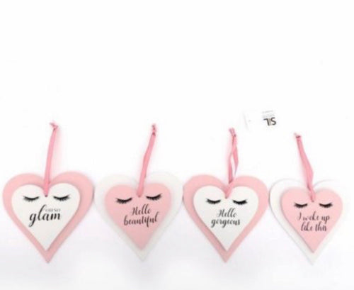 Glam Slogan Hanging Heart