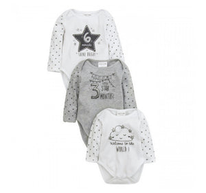 3 Pack of Baby Milestone Vests 0-6 months