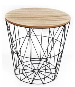 Geometric Black Wire Side Table