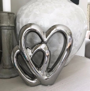 Silver Double Heart Ornament 15cm