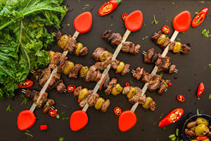 red skewer with beef and olives