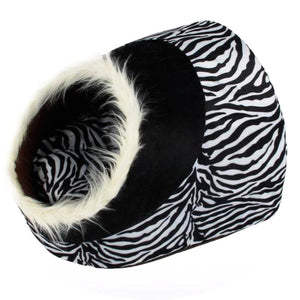 Zebra Print Soft Basket Bed
