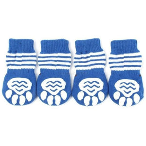 Striped Paw Print Non-Slip Socks