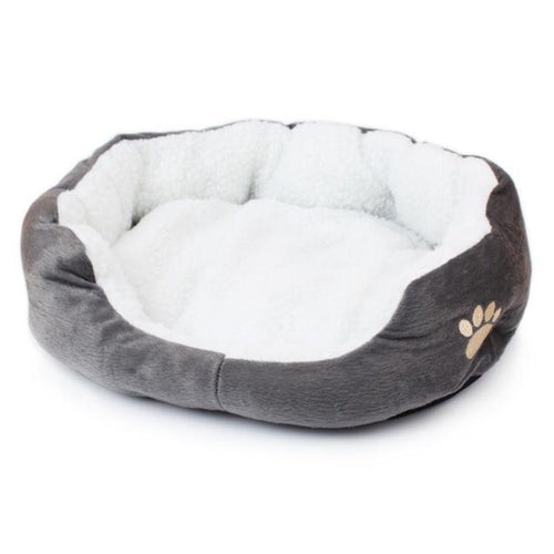 Paw Print Soft Plush Cat Bed