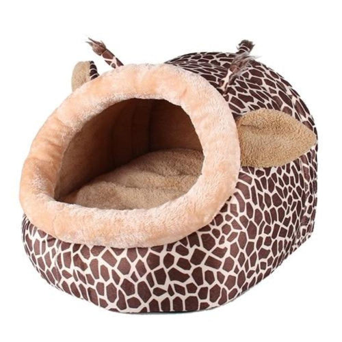 Giraffe Design Cat Plush Basket Bed