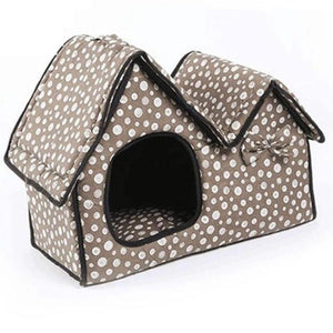 Poka-Dot Double Roof Cushion Cat House