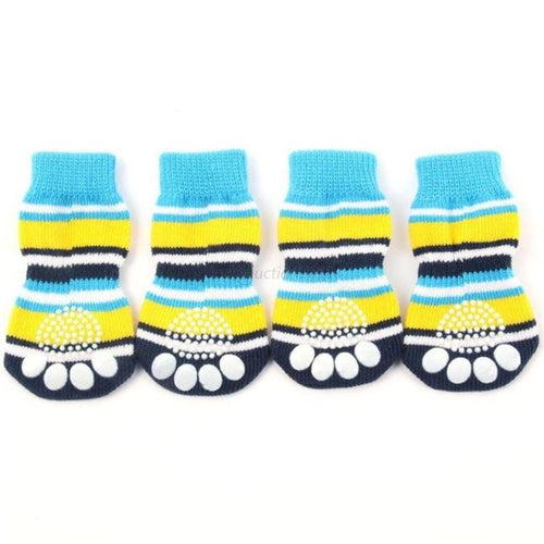 Striped Paw Printed Non-Slip Socks
