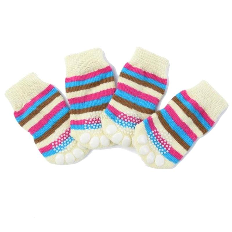 Striped Paw Design Gripped Socks