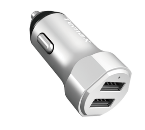 PowerDrive Charger | 24W, 2-Port Car Charger (U210) Silver
