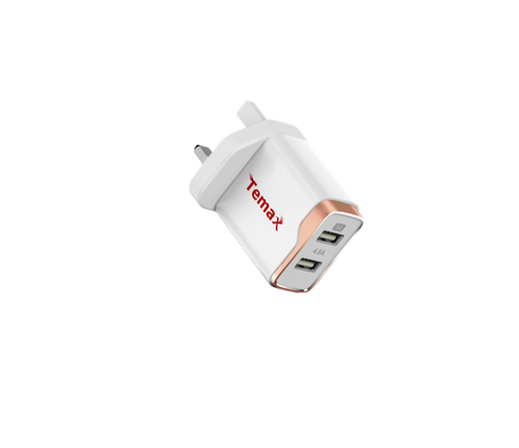 Dual ports 4.8A wall charger UK plug - White