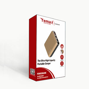 Temax Power Bank, Fast charging 10000 mAh Portable [QC 3.0] - Gold