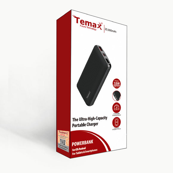 Temax Power Bank, Fast charging 20000 mAh Portable [QC 3.0] - Black