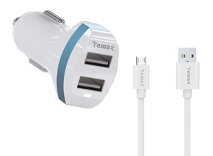 Car Charger & Micro Cable Set | 2-Port, 3.4A (011234)