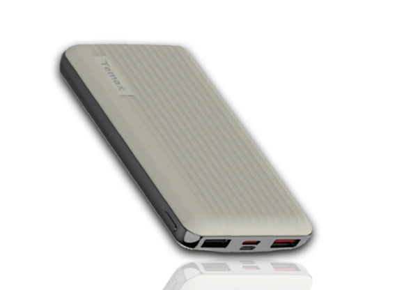 Temax Power Bank, Fast charging 20000 mAh Portable [QC 3.0] - Light Grey