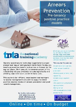 Arrears Prevention: Pre-Tenancy Positive Practice Practice (Wales) Online Training