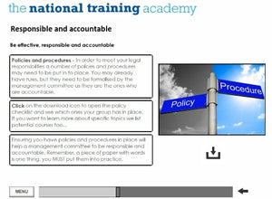 Role of a Management Committee Online Training screen shot 4