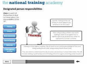 Safeguarding Designated Person Online Training screen shot 3