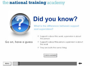 Support and Supervision of Staff Online Training screen shot 2