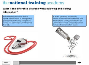Whistleblowing Awareness Online Training screen shot 3