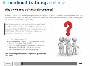 Developing safeguarding policies and procedures online training screen shot 5