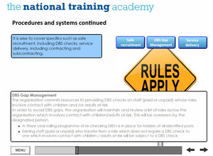 Developing safeguarding policies and procedures online training screen shot 6