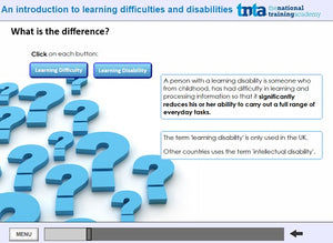 Learning disabilities awareness course  screen shot 2