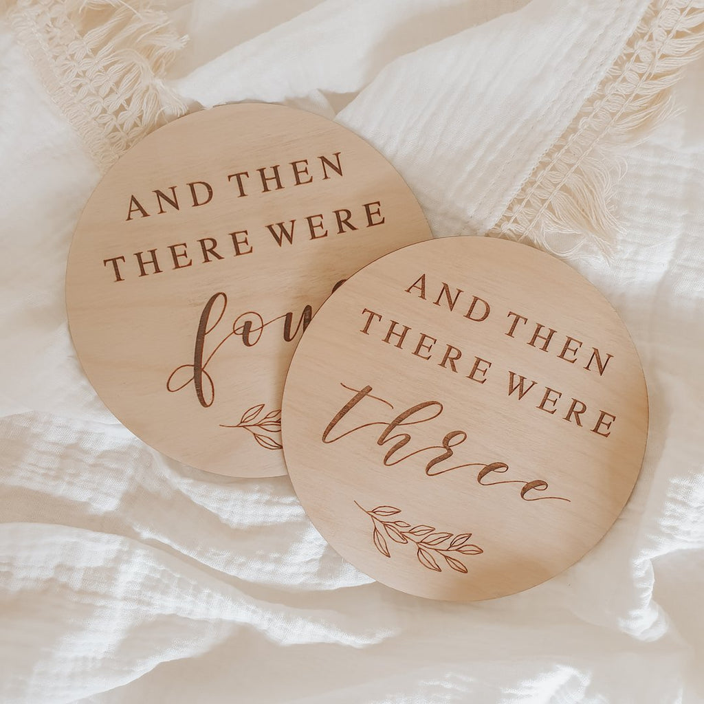 'And then there were...' 3,4 or 5 - Wooden Announcement Plaque - 15cm