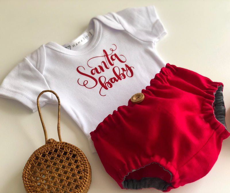 Santa Baby Nappy Pant & Onesie Set - Rust Red - Mama Bear
