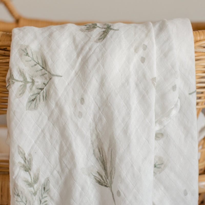 Bamboo Cotton Swaddle - Forest | Blossom & Pear